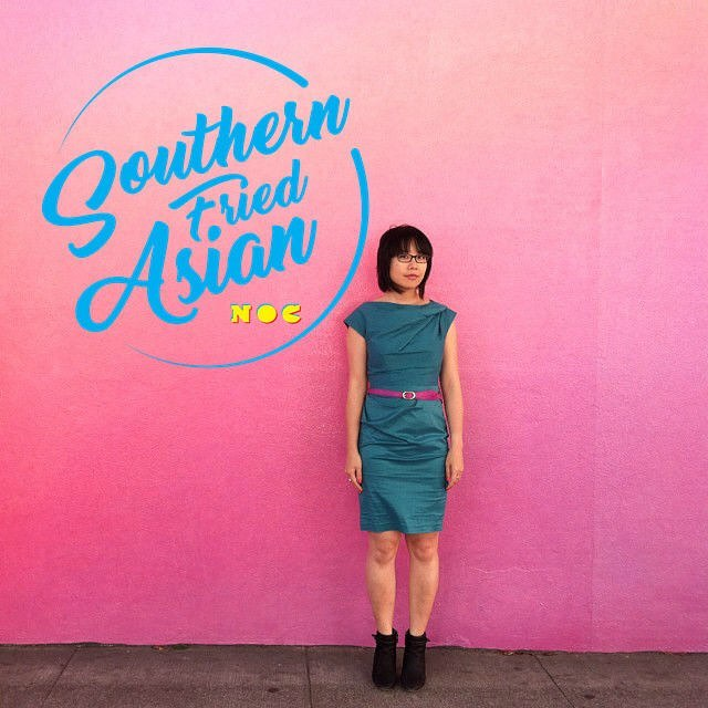 "Melissa Hung, an Asian American woman in a blue dress. There is a logo for ""Southern Fried Asian"" next to her."