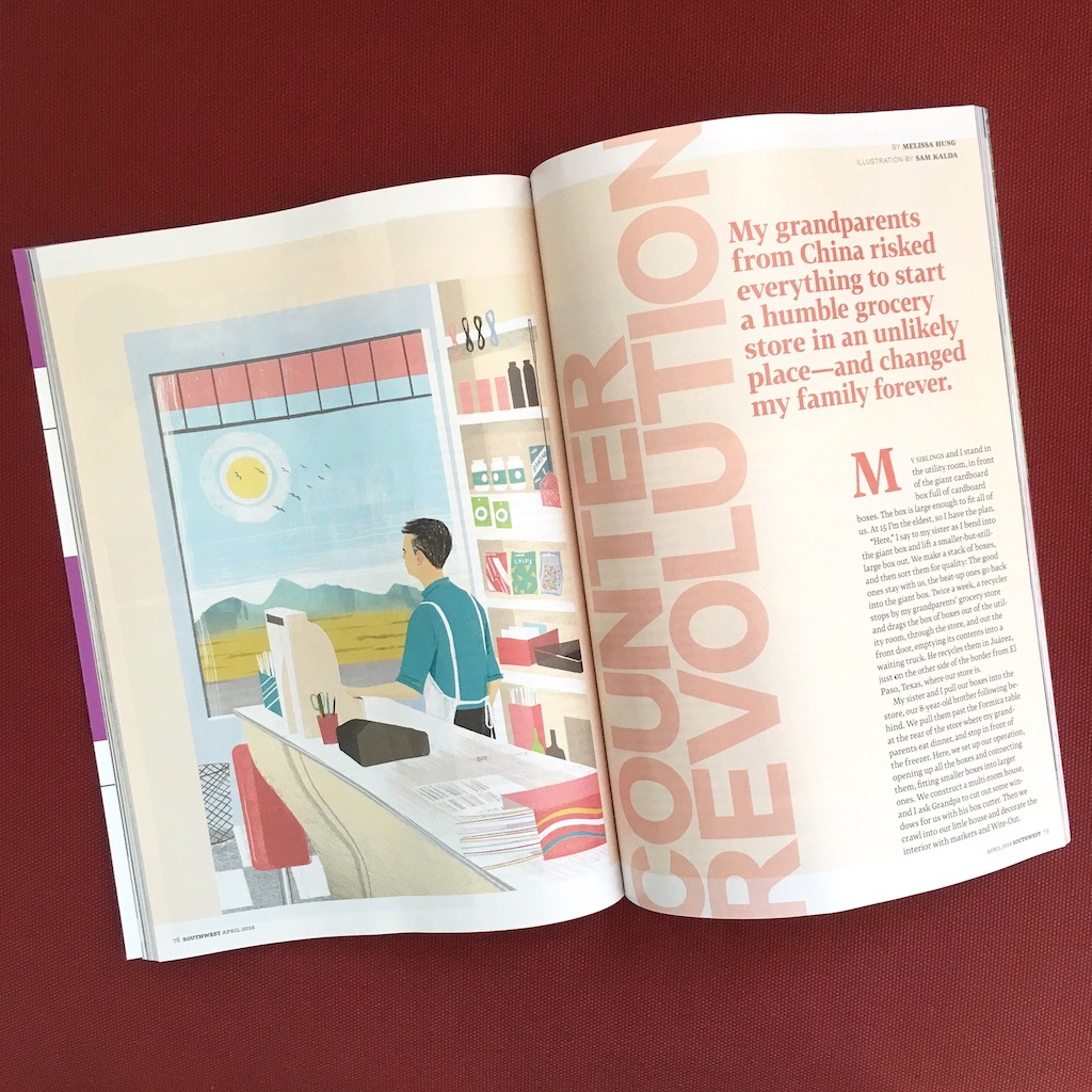 "A magazine open to a spread. There is an illustration of a man behind a counter and the text reads, ""Counter Revolution. My grandparents from China risked everything to start a humble grocery store in an unlikely place and changed by family forever."""