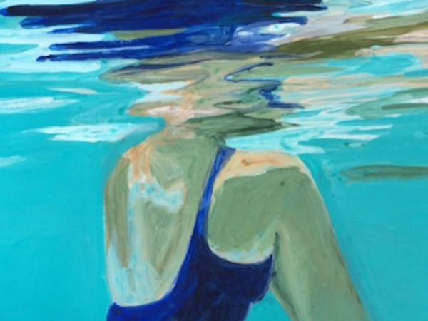 Illustration of a person in a blue swim suit in the water. The perspective is under water.