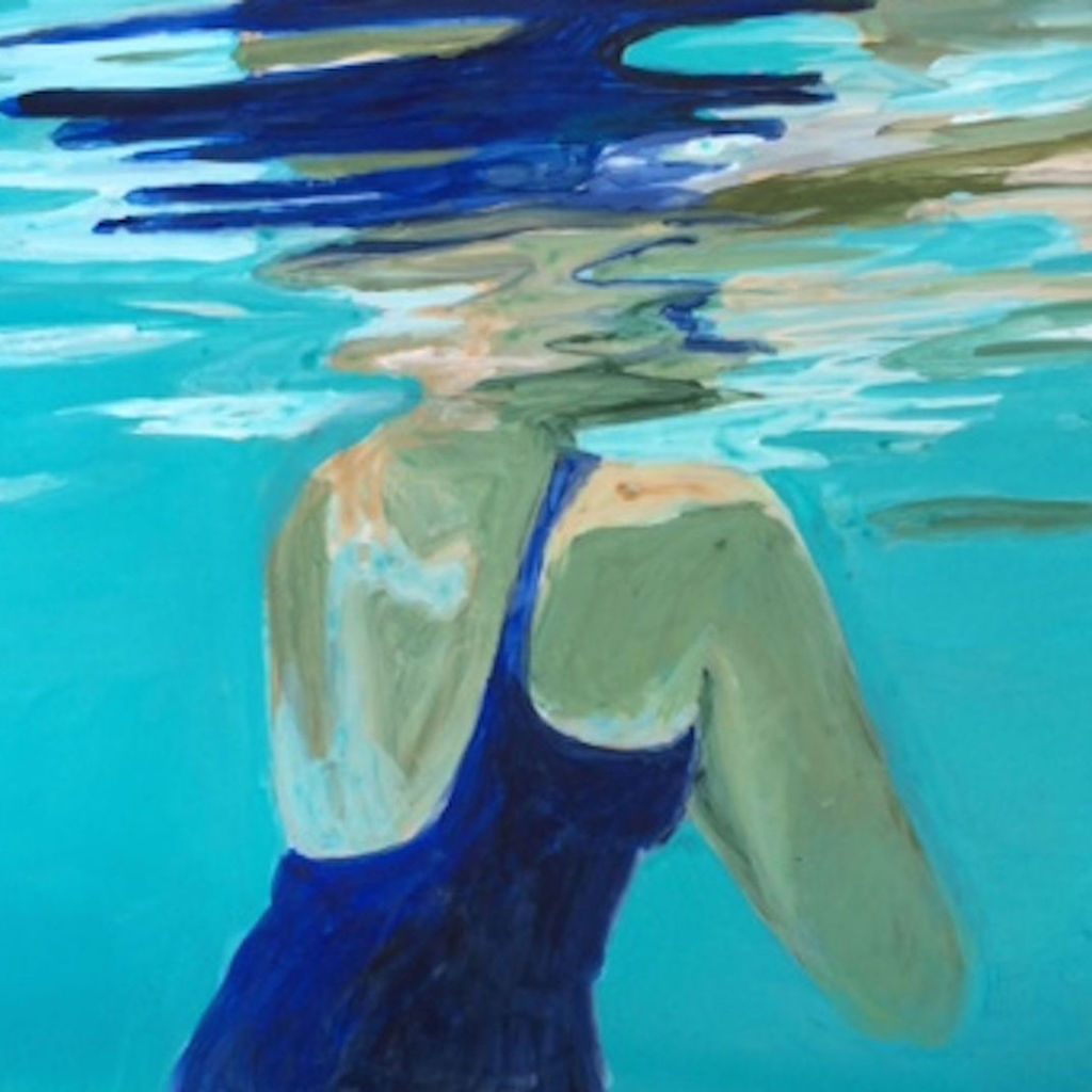 "The image for ""To swim is to endure,"" which is a painting of a female swimmer's back."