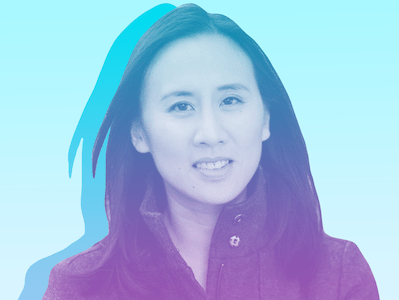 Photo illustration of Celeste Ng, an East Asian woman with shoulder length hair