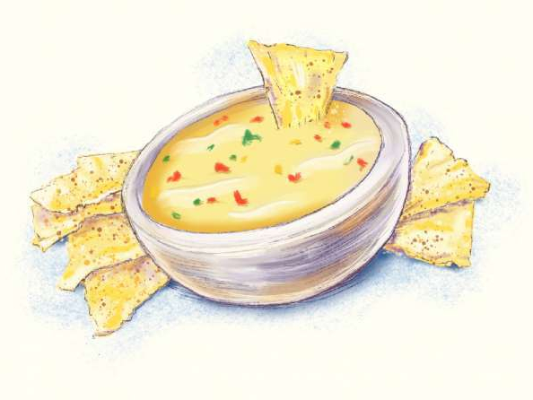 When authenticity means a heaping plate of Tex-Mex. An illustration of a bowl of queso by John Blanchard.