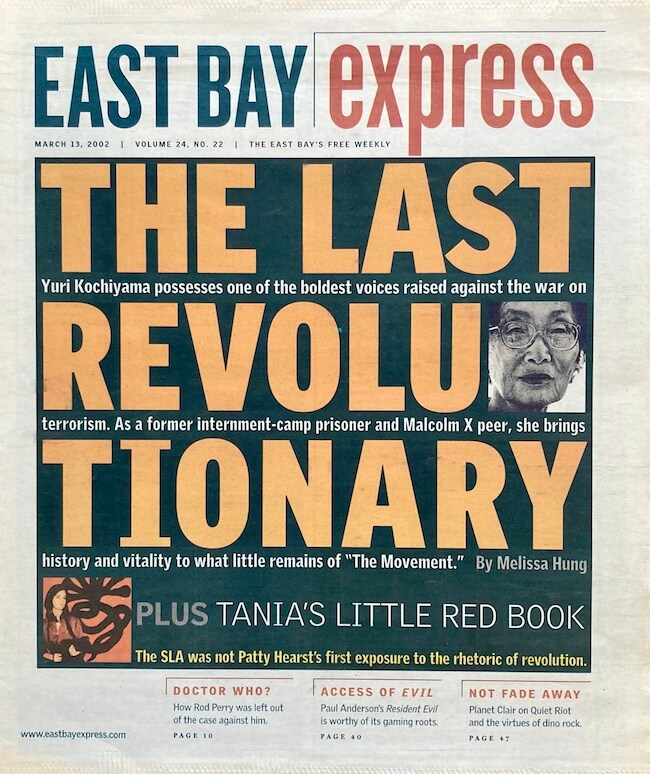 """East Bay Express cover with the story """"The Last Revolutionary"""" featuring Yuri Kochiyama"""