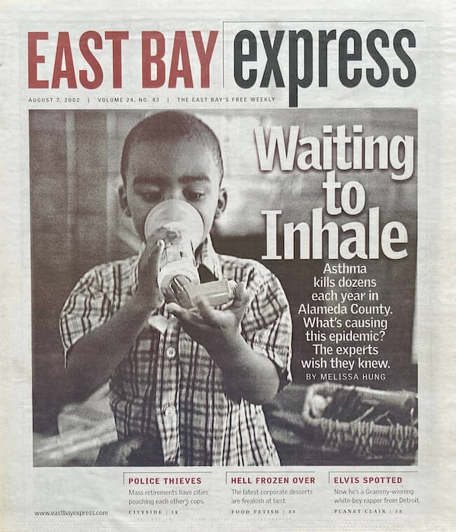 "East Bay Express cover with the story ""Waiting to Inhale"" about asthma featuring a photo of a little Black boy."