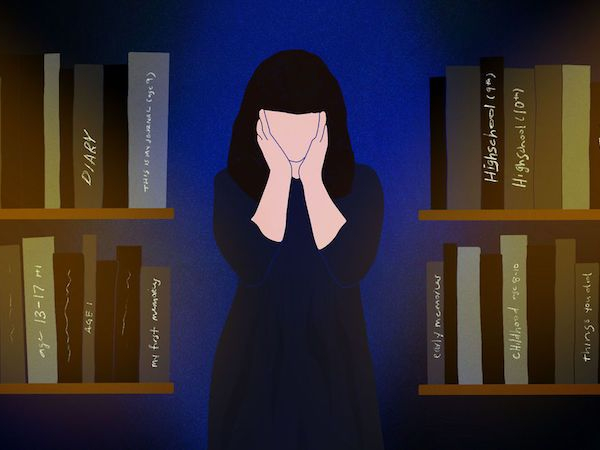 """Illustration of a faceless person holding two hands to their face. To either side of them are volumes of books that say things like """"diary"""""""