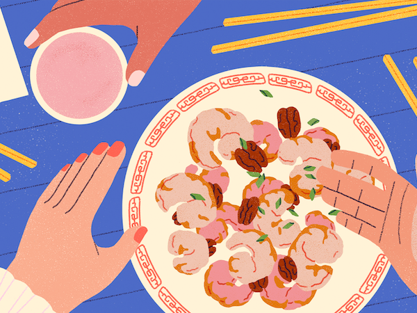 Illustration of honey walnut shrimp on a plate on a blue table with yellow chopsticks
